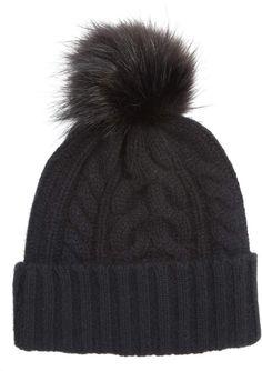 Halogen Cashmere Cable Knit Beanie with Faux Fur Pom Fur Pom Pom a3ccc3eca02a