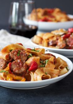 Tomato Pappardelle Pasta with Italian Sausage and Peppers | Easy Dinner Recipes | Quick Easy Dinner Ideas | Easy Healthy Recipes