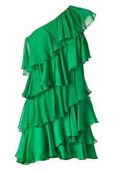 Halston Heritage Tiered One Shoulder Silk Grass Green Dress  Delightful Cheerful vibrant style    A cocktail Party Must Have.---Gorgeous!!