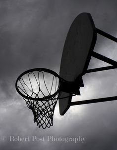 Basketball, backboard, stormy sky, net, artistic, dark sky, grey sky, old,