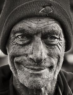 Smiling man of Norway - Black and white portrait. PEACE and JOY are *not* determined by how much we own, *not* by how beautiful or handsome we are, nor by anything else except our choice of attitude. Choose Peace Despite. -DdO:)  http://www.pinterest.com/DianaDeeOsborne/peaceful-people - Via Gabriela Morera Rosenkilde & Gitte Daphne Lætgaard Tinning