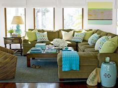 coastal living green and blue sectional.  This is the kind of couch I need to decorate with white walls