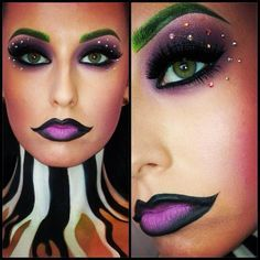 Colorful and artistic Beetlejuice inspired fantasy makeup with crystal accents.