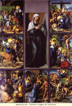 Our Lady of Sorrows - Devotion to the 7 sorrows of Mary. Blessed Mother, Our Lady of Sorrows, help me today and always to unite my pain to your heart and to commend it to your precious Son. May my sorrows be offered as a sign of my love and be comforted through action for others. Holy Mother, imprint deeply upon my heart the wounds of the Crucified. Amen.    Art: Albrecht Durer. The Seven Sorrows of the Virgin.