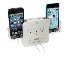 iPanda Wall Mount Surge Protector with 3-Outlet Plug and 2 USB Ports