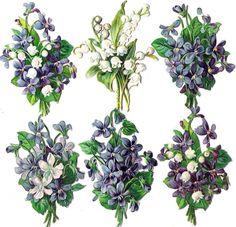 Oblaten Glanzbild scrap die cut chromo Veilchen violet Maiglöckchen lily valey