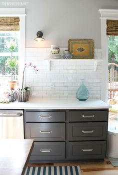 Dark gray cabinets, light gray walls, white rule and counters...perfect for pops of color!