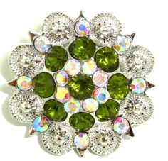 "Western Cowgirl Rhinestone Green AB Berry Concho 4 Leather Single Screw 1.5"" BeltsBootsBling.com - $6.95"
