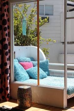 """Joannes & Ihor's Happy """"Pied-a-terre"""" in the Hollywood Hills - the blue fuzzy texture is exactly what we need on our furniture!"""