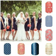 Jamberry Nail Wraps shown are: Icy Rose Polka, Navy Skinny, Whimsical Willow, Metallic Gold Pinstripe, Sapphire Blue Sparkle, Love Fern and Navy Quartrefoil ~ http://salonfresh.jamberrynails.net