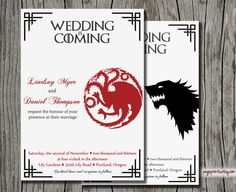 Game of Thrones Wedding Invitation Printable by pegsprints on Etsy, $15.00