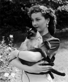 Vivien Leigh and her Siamese cat