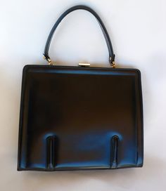 Vintage Black Leather Kelly Style Purse From Saks by chriscre