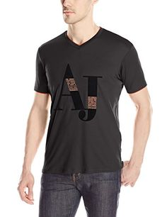 832ff5fba Armani Jeans Men's Logo V-Neck T-Shirt AJ logo v neck tee with contrast  faux double layer