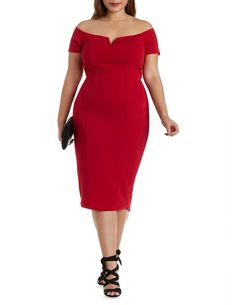 Plus Size Red Notched Neck Midi Dress by Charlotte Russe – Size 2X