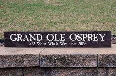 "A ""grand""sign for a Grande Ole Home. Painted Wood Signs, Custom Wood Signs, White Whale, Last Name Signs, Custom Paint, Painting On Wood, Wood Art, House Warming, Sweet Home"