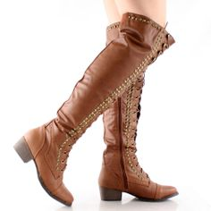 Tan Combat Military Lace Up Stud Womens Flat Over The Knee Thigh