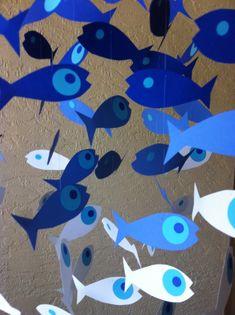 Deep Sea Fish Crib Mobile, Blue Fish Crib Mobile