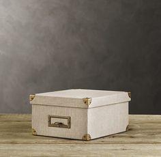 Linen Media Box Sand