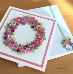 quilled card - flower wreath