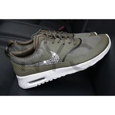 Ready to Ship Women 8 & 8.5 Nike Air Max Thea Olive Green Blinged Out... ($150) ❤ liked on Polyvore featuring shoes, dark olive, sneakers & athletic shoes, tie sneakers, women's shoes, swarovski crystal shoes, olive green shoes, army green shoes, tie shoes and olive shoes