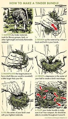 How to Make a Tinder Bundle How to Make a Tinder Bundle,Survival Igniting a fire requires more than a spark. Sweating through a bow drill session to create an ember or grinding away at. Survival Life Hacks, Survival Food, Camping Survival, Outdoor Survival, Survival Prepping, Survival Skills, Bushcraft Camping, Outdoor Camping, Bushcraft Skills