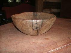 Early treen bowl w/repair