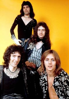 (left to right) Guitarist Brian May, singer Freddie Mercury - bassist John Deacon and drummer Roger Taylor of British rock band Queen pose in London, England in (Photo by Michael Putland/Getty Images) Queen Freddie Mercury, John Deacon, Brian May, I Am A Queen, Save The Queen, Queen Queen, Freedie Mercury, Roger Taylor, Queen Photos