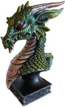 """Dragons are loved worldwide. This dragon head has attitude and excellent detail. The eyes are piercing and ever watching. The finish gives it a metalilic feel. Cold cast resin. 6 12""""."""