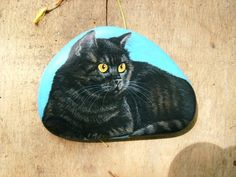 Beautiful stone painting of a yellow eyed cat!!