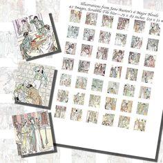 Images,Digital,Stickers,Collage,Illustration,jane austen,pride and prejudice,c e brock,persuasion,emma,scrabble tile,rectangle