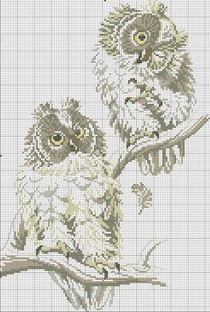 This Pin was discovered by Iri Cross Stitch Owl, Cross Stitch Boards, Beaded Cross Stitch, Cross Stitch Alphabet, Cross Stitch Animals, Cross Stitch Designs, Cross Stitching, Cross Stitch Embroidery, Owl Patterns