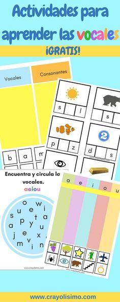 ¡Actividades para aprender las vocales gratis! Con este material de las vocales los niños aprenderán a reconocer las vocales y desarrollar su vocabulario. Excelente material de lectoescritura para niños de preescolar.