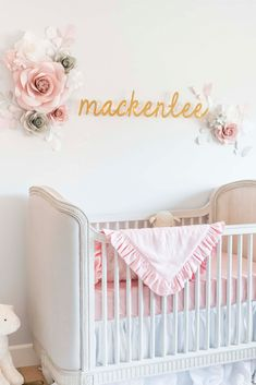 Angela Lanter | Hello Gorgeous | Baby MacKenlee Faire's Pink & Grey Nursery Reveal. Crib, Closet, curtains, floor lamp, side table, name wall mount, storage baskets, stuffed animals, closet dividers, crib mattress, pink bench, chandelier, ottoman, crib bedding. Details of the nursery. Grey and pink nursery. #angelalanter #nursery #babynursery #babygirl