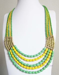 """Will come in gift box. Fashion gold statement necklace, with green and yellow beads. Trendy fashion necklace to have! !' width of the rows at it's largest.  18""""  Payment via Paypal. + Free USPS Priority Shipping once payment goes thru and will provide tracking number.             If you don't have a PayPal account, you can still pay securely        through    that service with a credit or debit card (when you get  to   the     PayPal    screen during checkout, look for the """"don't have a…"""