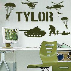 Nom personnalisé militaire. l'armée. soldats. boys room décoration murale sticker mural en vinyle