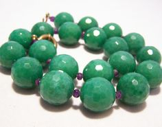Artisan Chunky Faceted Chrysoprase Purple by GretelsTreasures