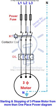 ON / OFF 3-Phase Motor Connection Control Diagram ...