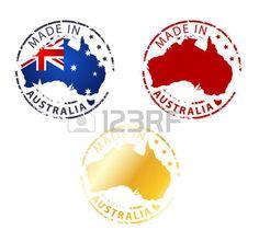 hecho en el sello Australia - Planta auténtico sello con mapa del país Vectores