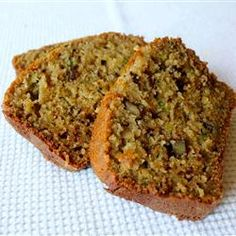 Classic Cinnamon Zucchini Bread - I added ½ Cup quick Oats & ½ Cup wheat germ.  I also used 3 cups of Zucchini rather than 1 - makes extra moist but not gooey.  THAS MAY BE MY FAVORITE ZUCCINI BREAD YET!