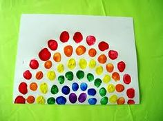 Thumbprint Rainbow:  Get out the stamp pads of all different colors and have the children use their thumbprints to make this colorful rainbow.