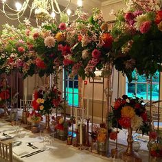 #sabine3wedding madness  3 weddings in 3 days. After the first day we will be dining underneath these elevated center pieces! #flowers #centerpiece #weddingflowers #diner #underthefloralspell #flowermagic