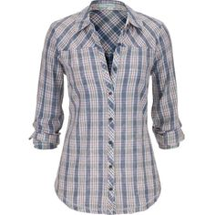 maurices Plaid Button Down Shirt In Blue ($32) ❤ liked on Polyvore featuring tops, new chambray combo, long button up shirt, shirts & tops, plaid top, button front shirt and plaid button up shirts