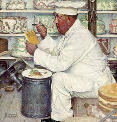 Saturday Evening Post cover art 'Baker Reading Diet Book' by Norman Rockwell, January 3, 1953