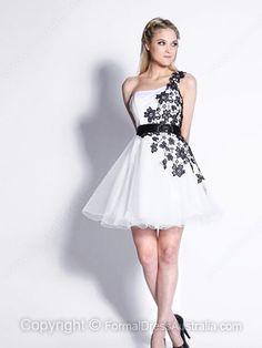 A-line One Shoulder Short Formal Dresses