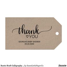 Rustic Kraft Calligraphy Thank You Favor Tags Birthday Favors, First Birthday Parties, First Birthdays, Calligraphy Thank You, Gift Wrapping Supplies, Toned Paper, Party Favor Tags, Custom Ribbon, Personalized Gift Tags