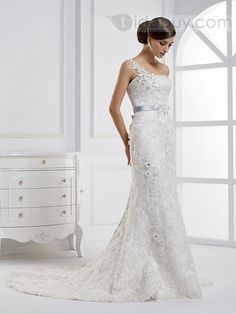 Charming Mermaid One-shoulder Flowered Floor-length Chapel Train Wedding Dress : Tidebuy.com