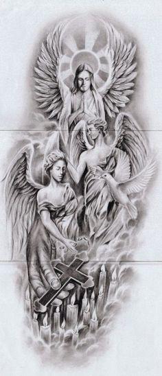 Jesus tattoo, god tattoos, tattoos for guys, greek god tattoo, tattoo Half Sleeve Tattoos Drawings, Forearm Sleeve Tattoos, Best Sleeve Tattoos, Angel Tattoo Designs, Tattoo Sleeve Designs, Religous Tattoo, Religion Tattoos, Chicano Art Tattoos, Heaven Tattoos