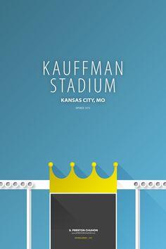 Minimalist Kauffman Stadium - Kansas City Art Print