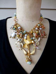 SALE Vintage Bird Necklace, Bib Necklace,  Statement Necklace, necklace Assemblage  - Birds of a Feather